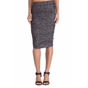 Splendid Space Dyed Jersey Midi Skirt in Black
